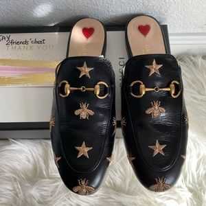 Gucci princetown slides mules embroidered bee star